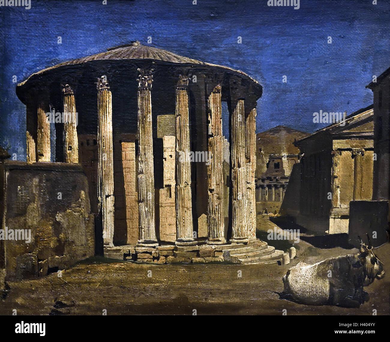 Temple of Vesta in Rome 1858 Italy Italian  by Franz von Lenbach 1836-1904 German Germany - Stock Image
