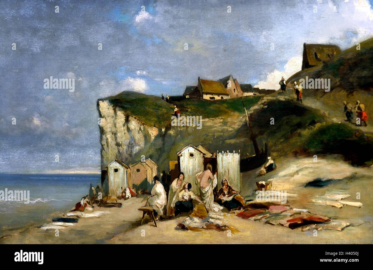 Women Bathing in the sea near Dieppe 1857 Carl Spitzweg 1808-1885 German Germany ( Dieppe Seine-Maritime department - Stock Image