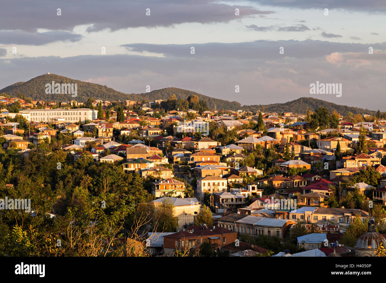 Houses on th slope of a mountain. - Stock Image