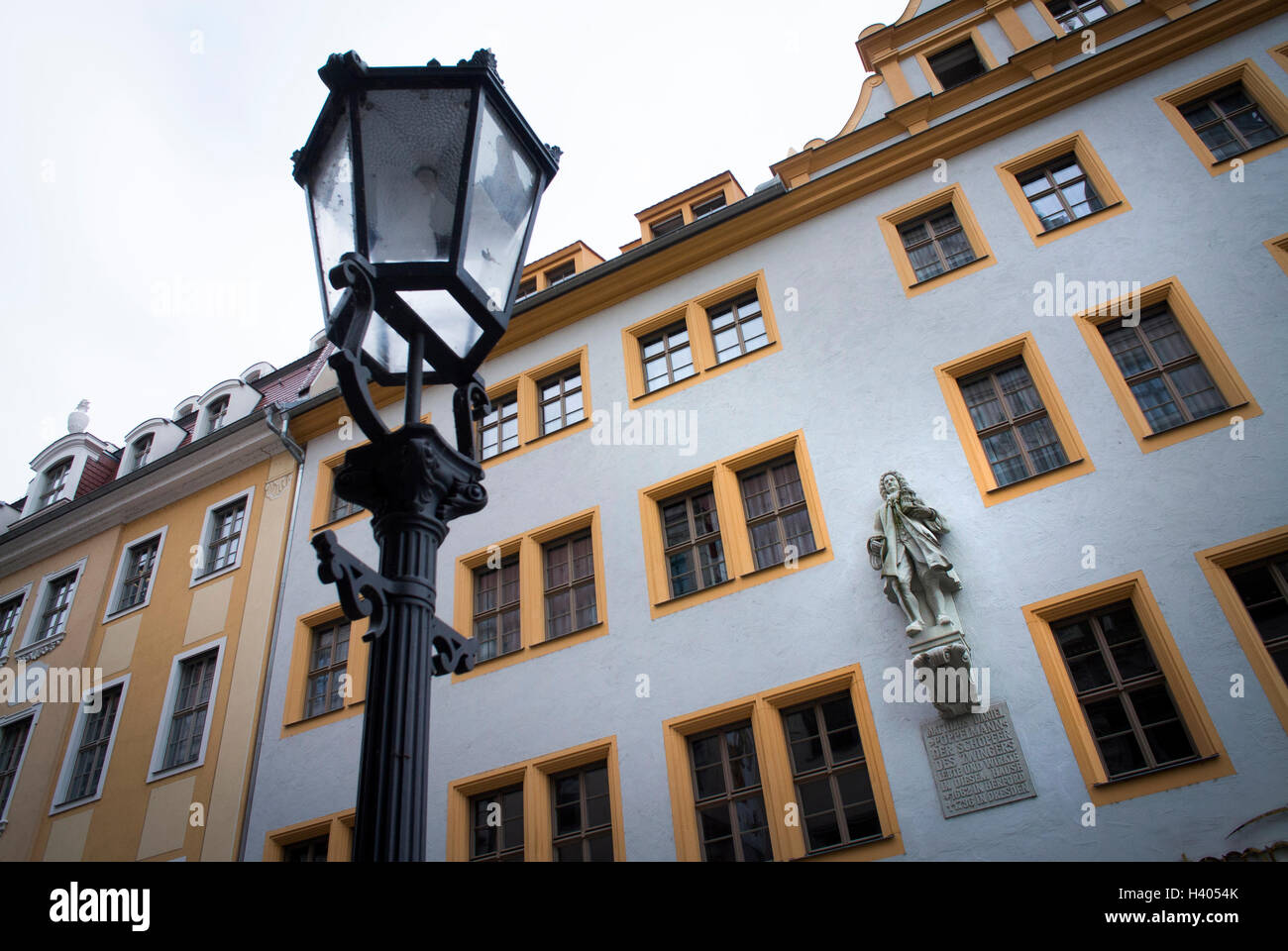 Statue to Matthäus Daniel Pöppelmann in Dresden old town, Germany. Stock Photo