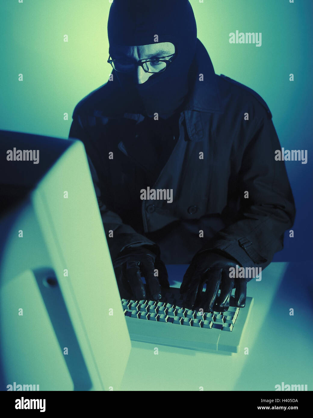 Hackers, icon, computer crime, illegally, user, computer expert, knowledge, talent, illegitimate, computer criminal - Stock Image