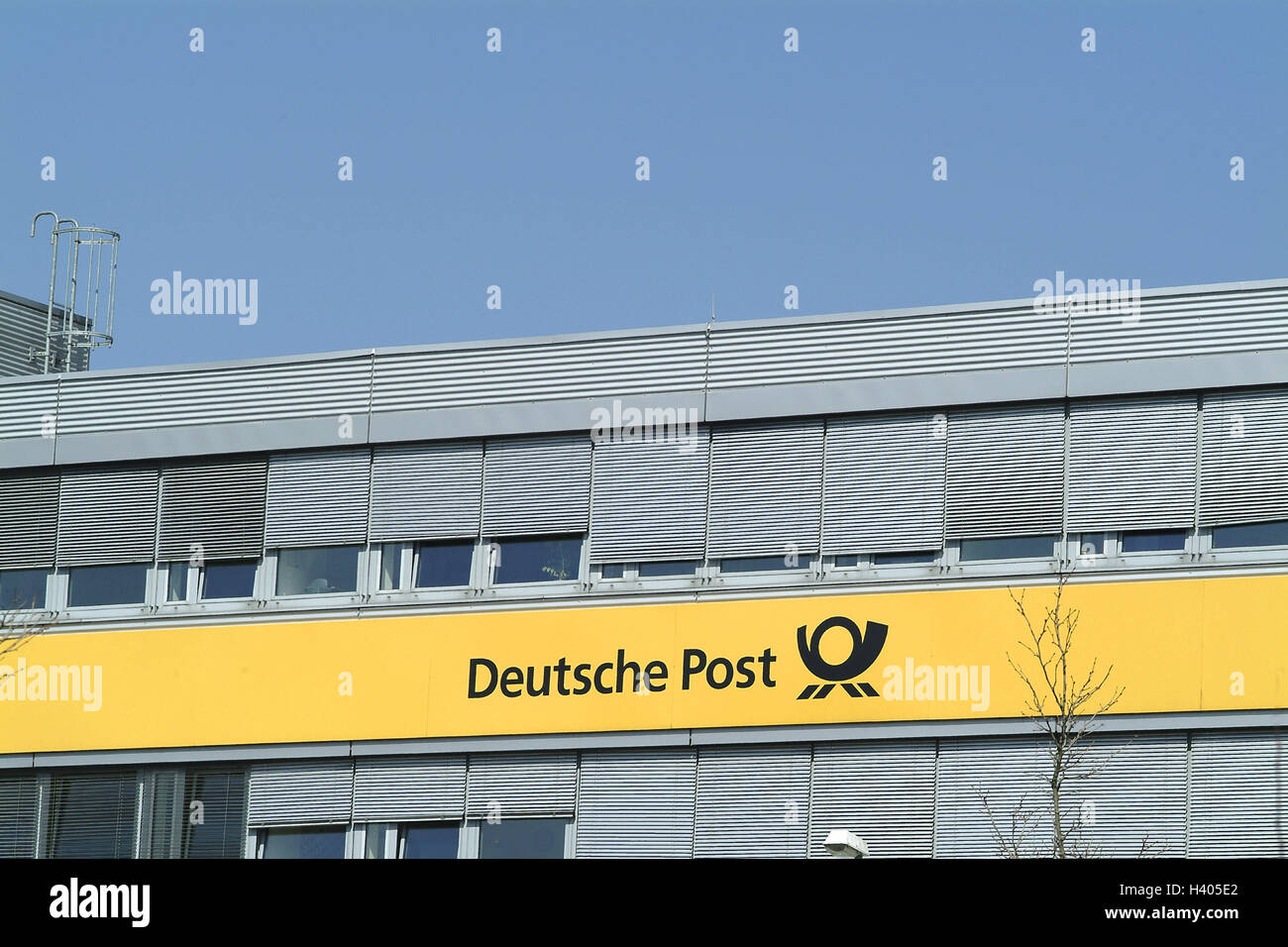 """Post-office building, facade, detail, label, """"German post"""", company logo, post, building, sign, logo, logo, """"postal Stock Photo"""