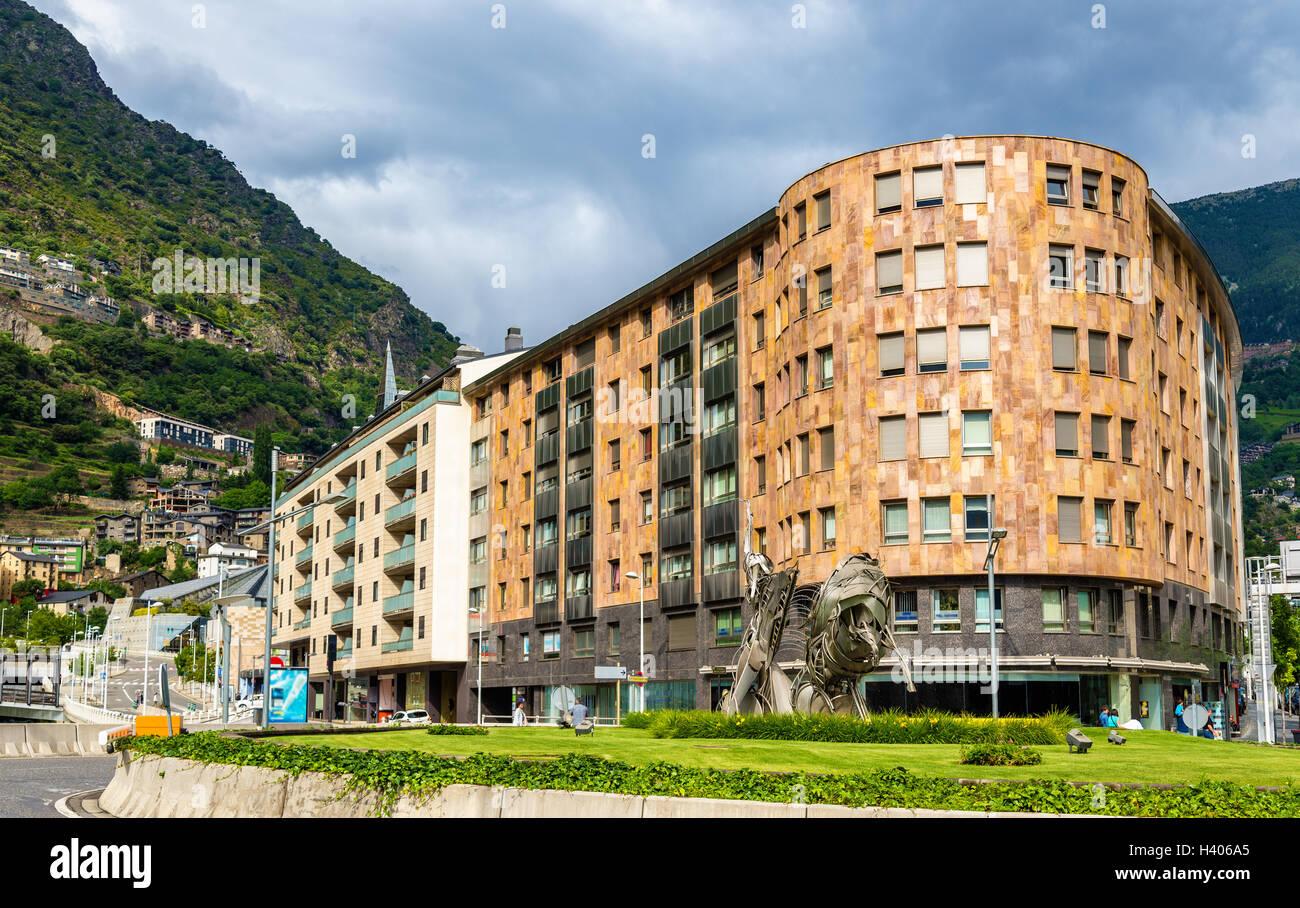 Buildings in Andorra la Vella, the capital of Andorra - Stock Image