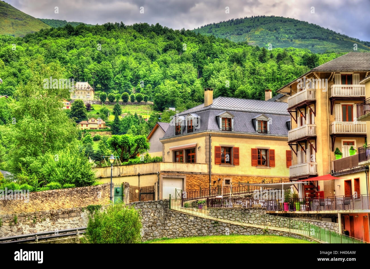 View of Ax-les-Thermes town - France, Midi-Pyrenees Stock Photo