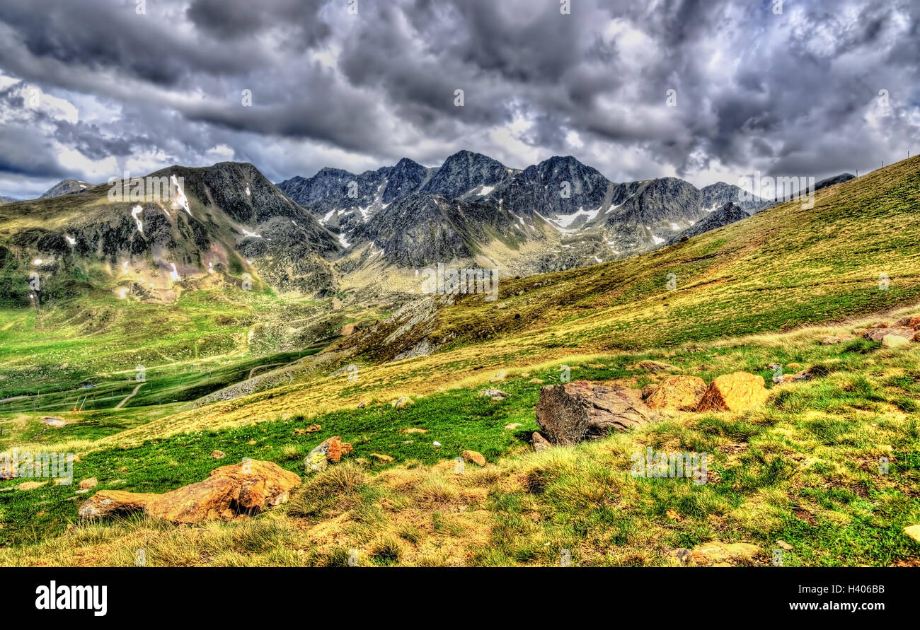 View of the Pyrenees near El Pas de la Casa - Andorra - Stock Image