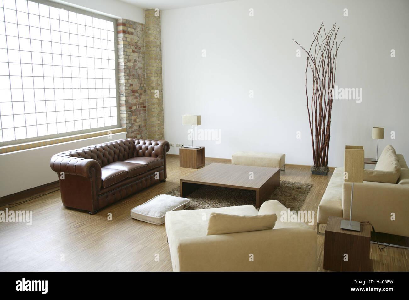 Loft, sitting room, seat piece furniture, coffee table, living Stock ...