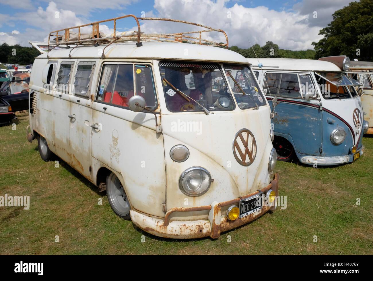 A 'rat look' lowered split-screen VW van at the Viva Skeg Vegas Classic VW Show, Revesby Park, Lincolnshire, - Stock Image