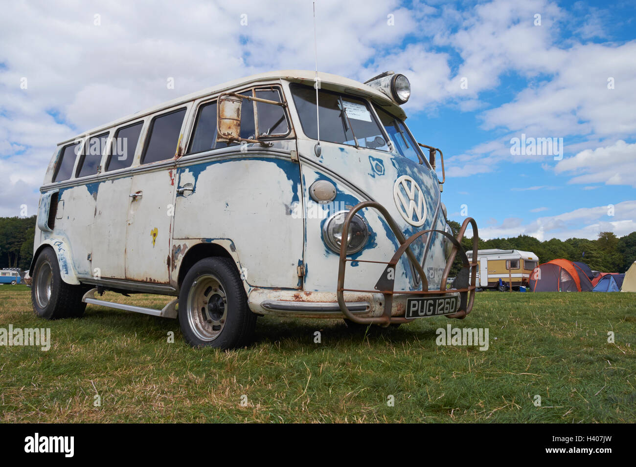 A 'rat look' lowered split-screen VW van at the Viva Skeg Vegas Classic VW Show, Revesby Park, Lincolnshire, - Stock Image
