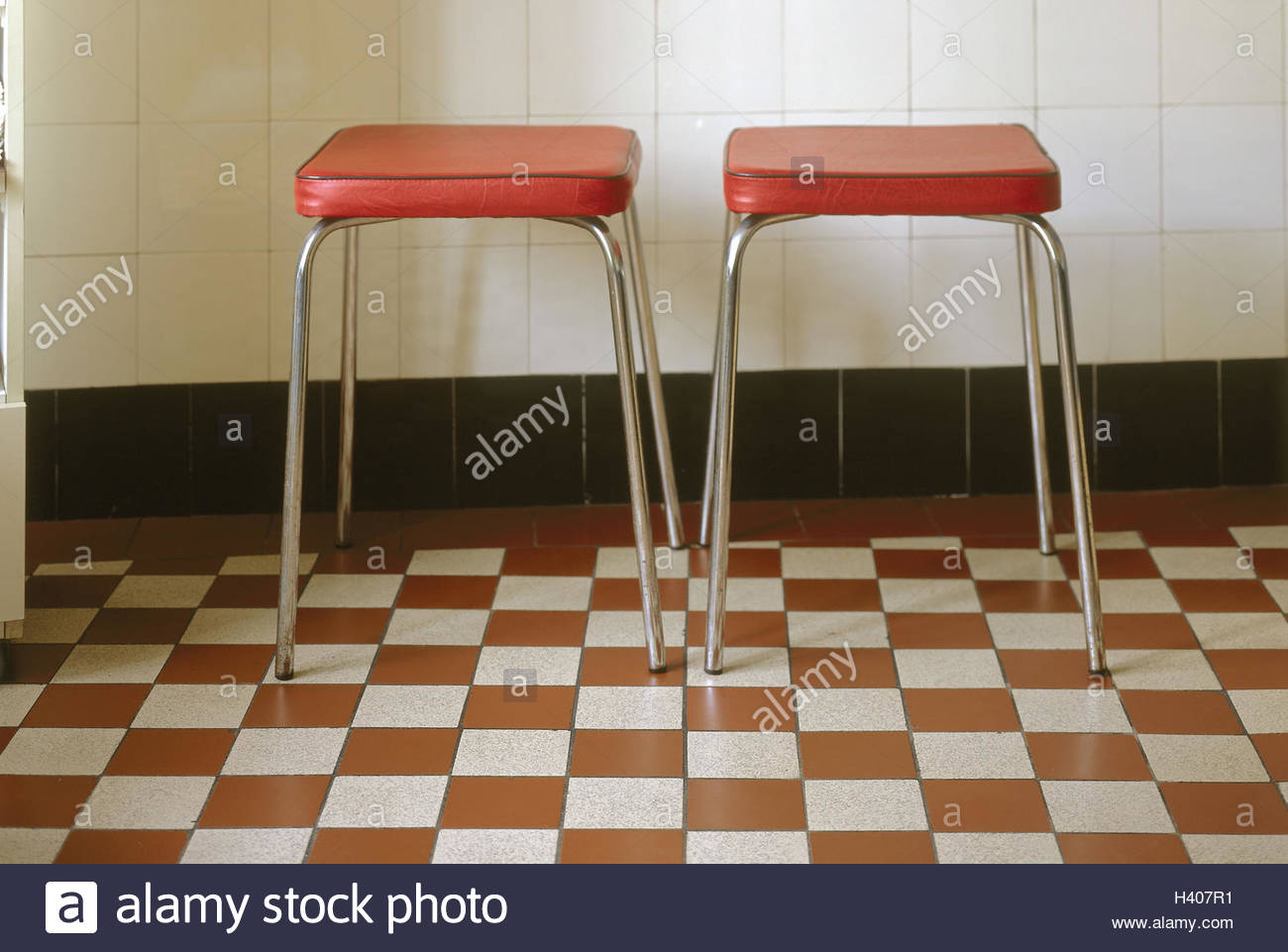 Tile ground, stools, two Area, tiles, wall, tile wall, seat Stock ...