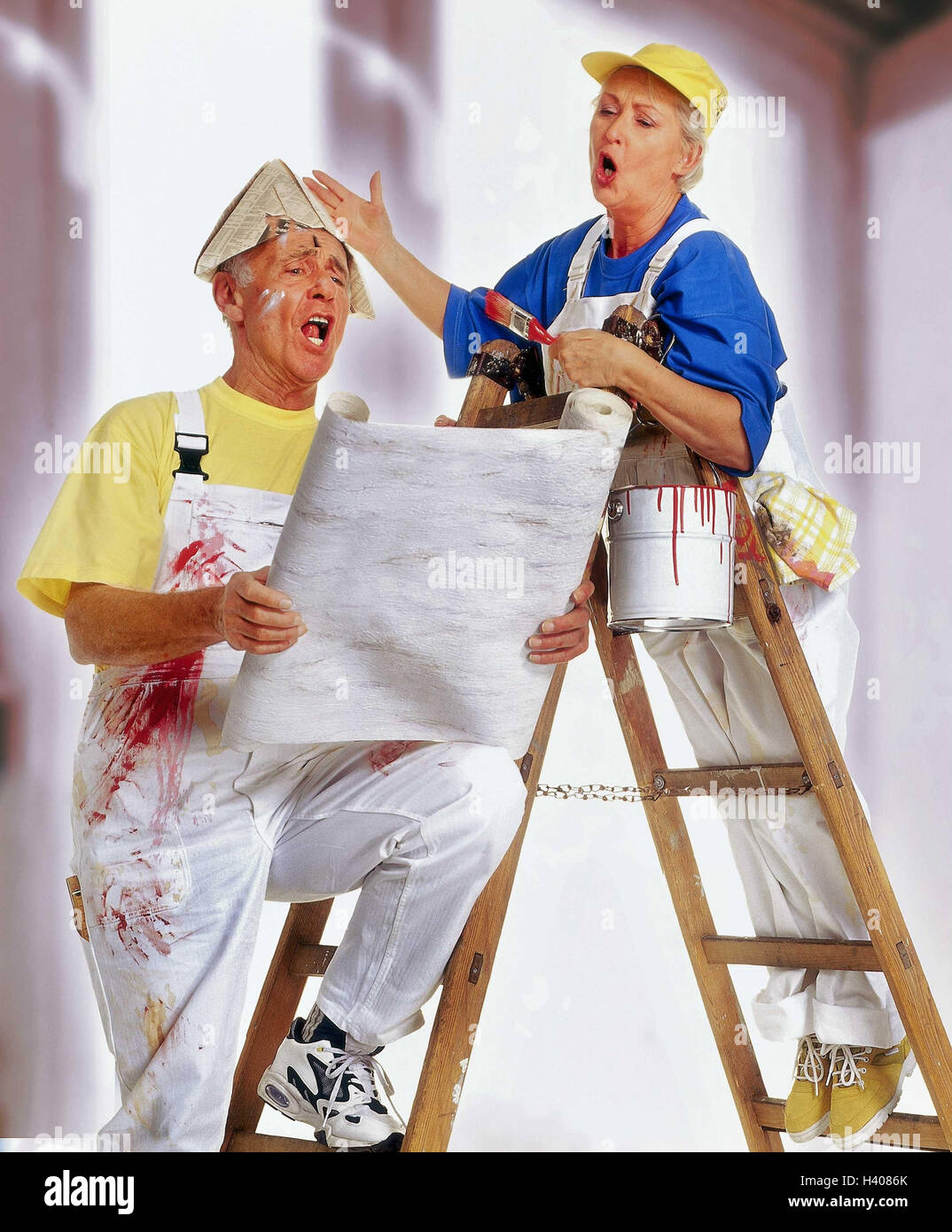 Do it yourself senior couple renovation wallpaper colour stock do it yourself senior couple renovation wallpaper colour conductor stand sing gesture paint senior studio inside man woman old renovate solutioingenieria Gallery
