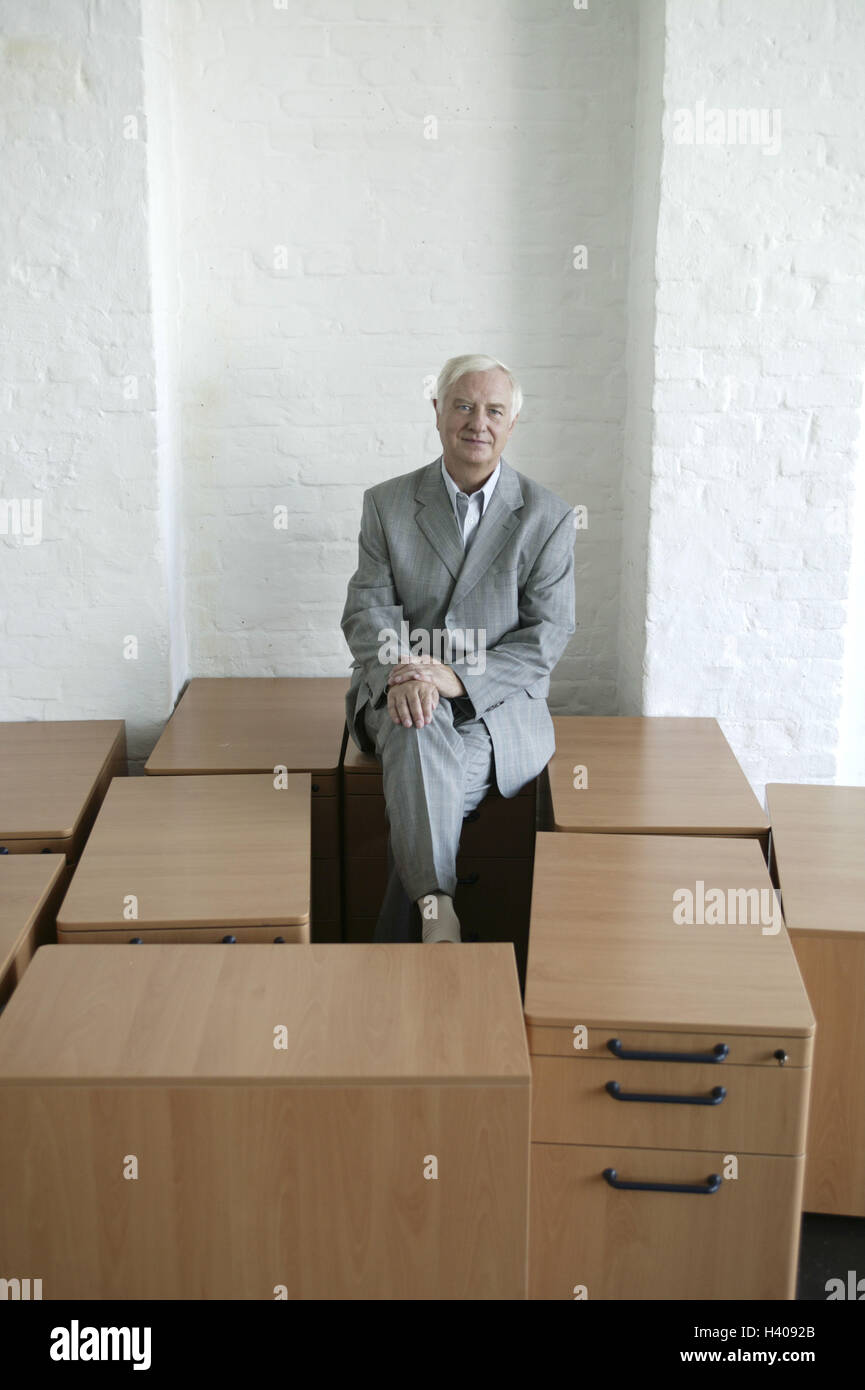 Business premises, thrust boxes, businessman, sit, limited, room, blank, setup, fitments, pieces furniture, office - Stock Image