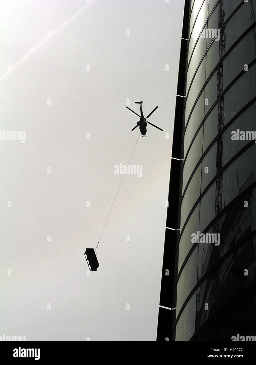 Silhouette, high rise, facade, costs helicopter, from below, skyscraper, office building, helicopter, helicopter, Stock Photo