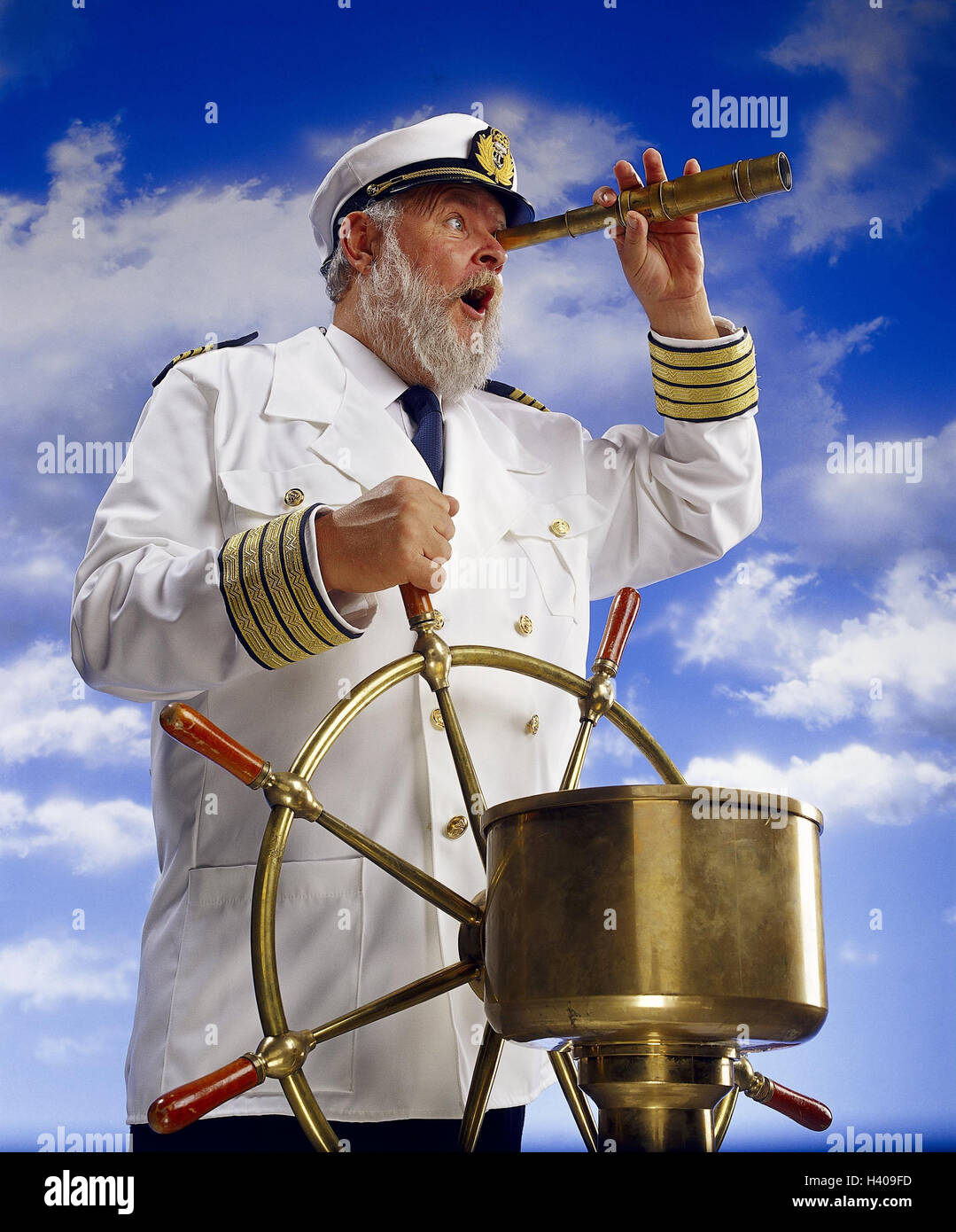 Composing, captain, tax, telescope, facial play, astonishment, cloudy sky concepts, senior, observation, observe, - Stock Image