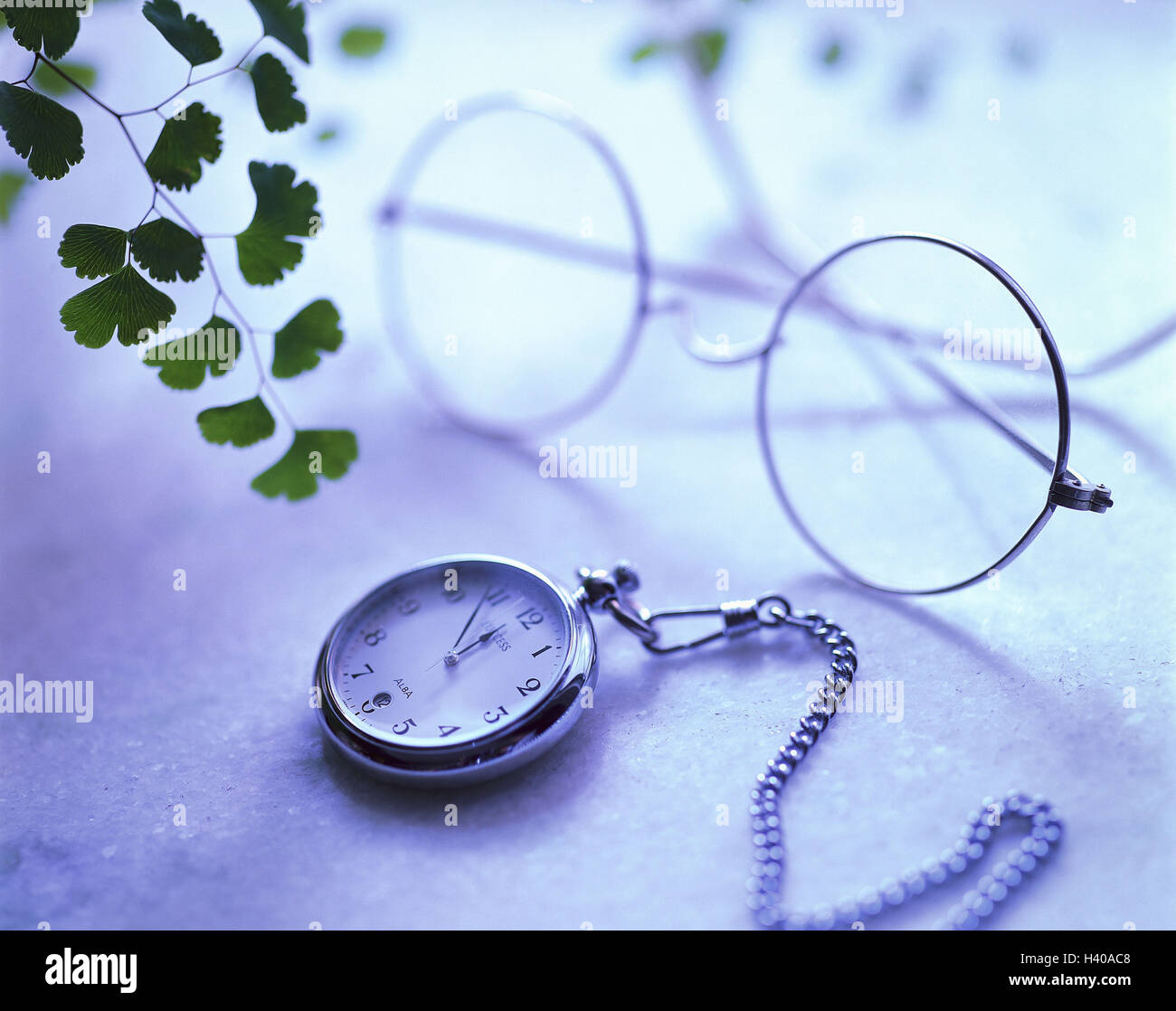 Glasses, pocket watch, 'five in front of twelve', leaves, reading glasses, nickel glasses, clock, time, - Stock Image