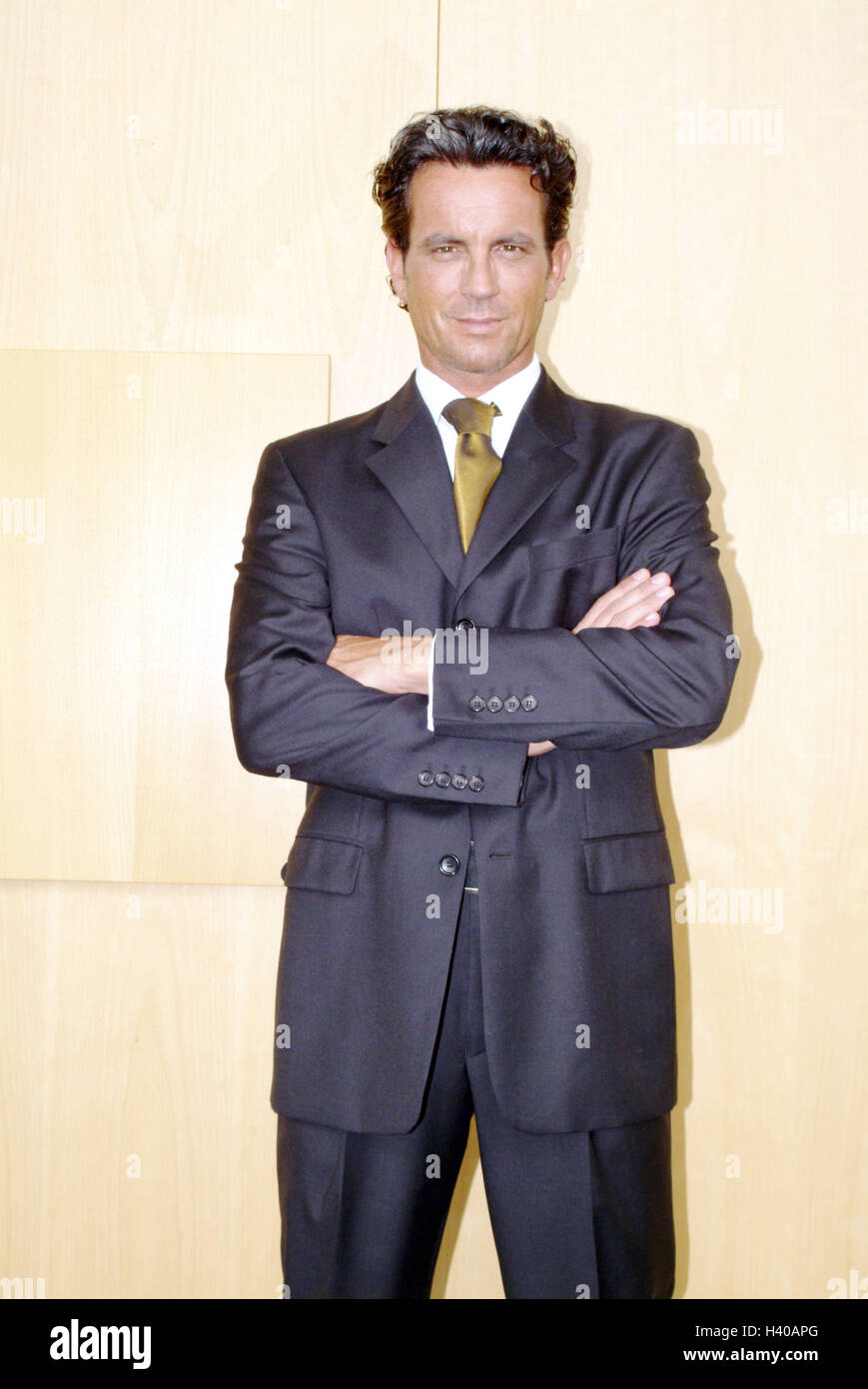 Office, manager, stand, self-confidently, bank, cashier, banker, man, 34 years, businessman, clothes, suit, business, - Stock Image