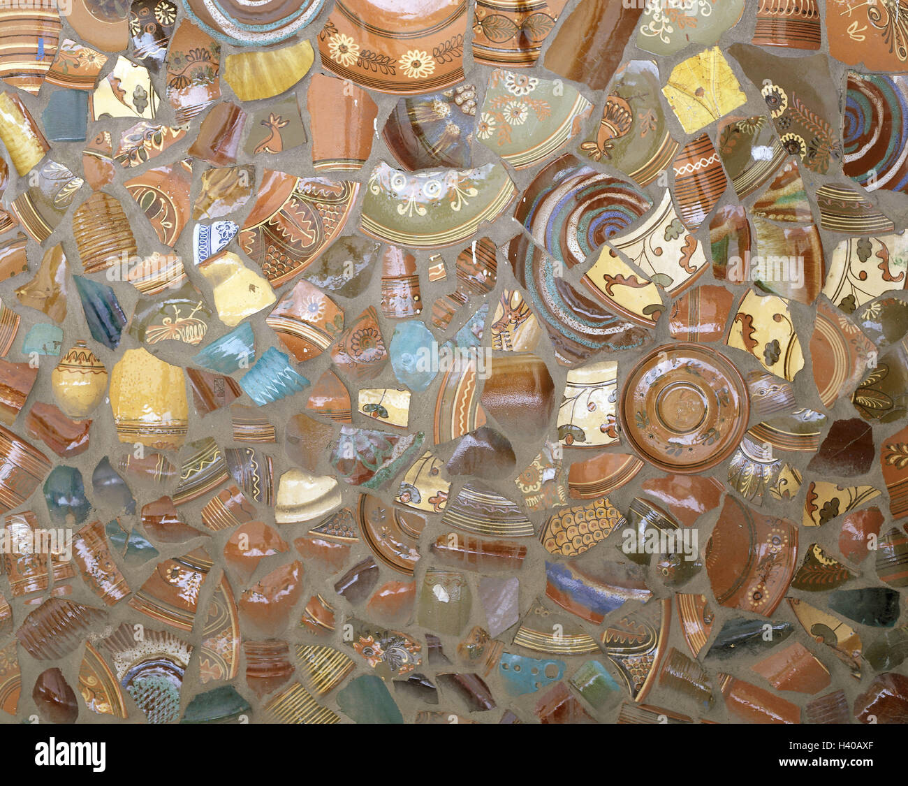 More poorly, ceramics shards, close up, wall, ceramics, shards, glazed, fragments, mosaic, art, idea, product photography, - Stock Image