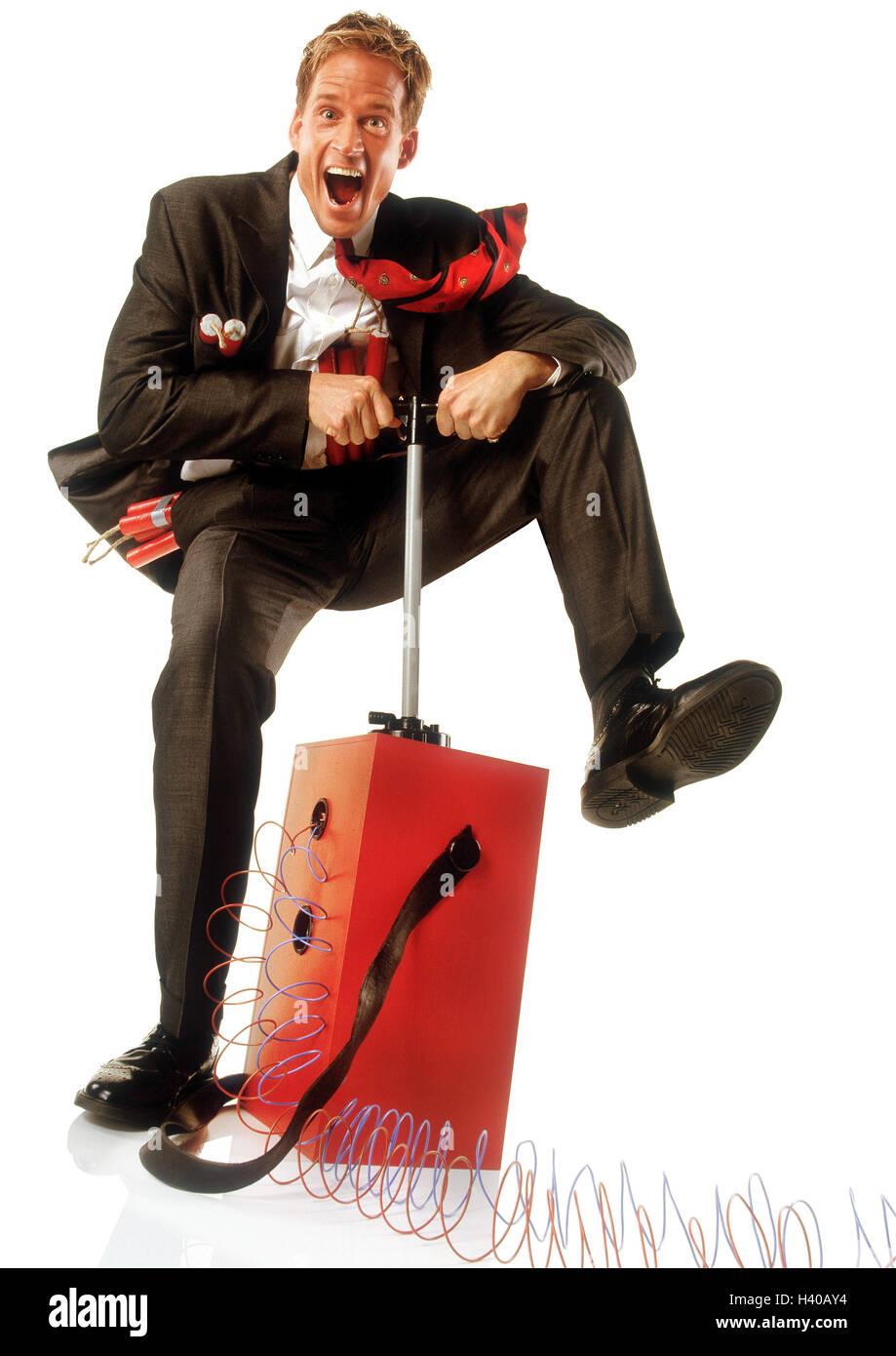 Businessman, dynamite, explosive charge, ignition mechanism, trigger, gesture concepts, businessman, spraying, sprinkle, - Stock Image