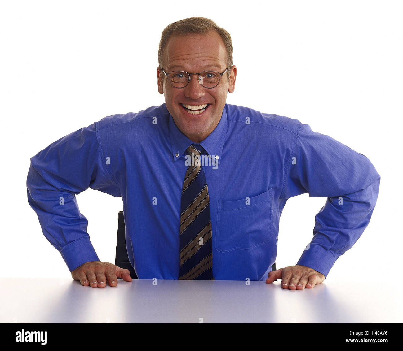 Man, glasses, shirt, tie, sit, rest on, laugh, decided, determination Men, businessman, manager, studio, cut out, - Stock Image