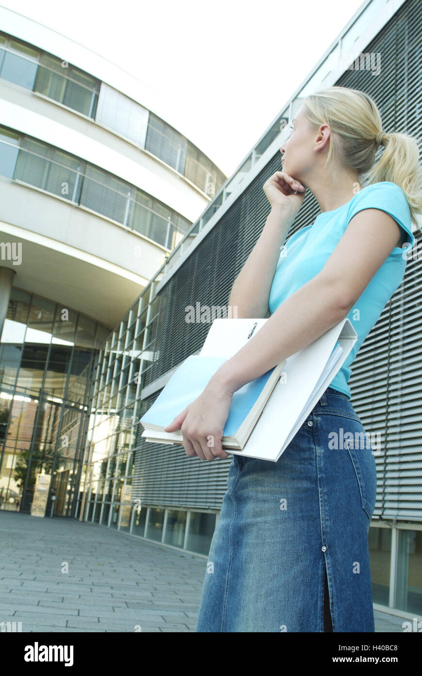 Woman, young, doubts, bases, view, background, office building, 23 years, occupation, professional life, education, - Stock Image
