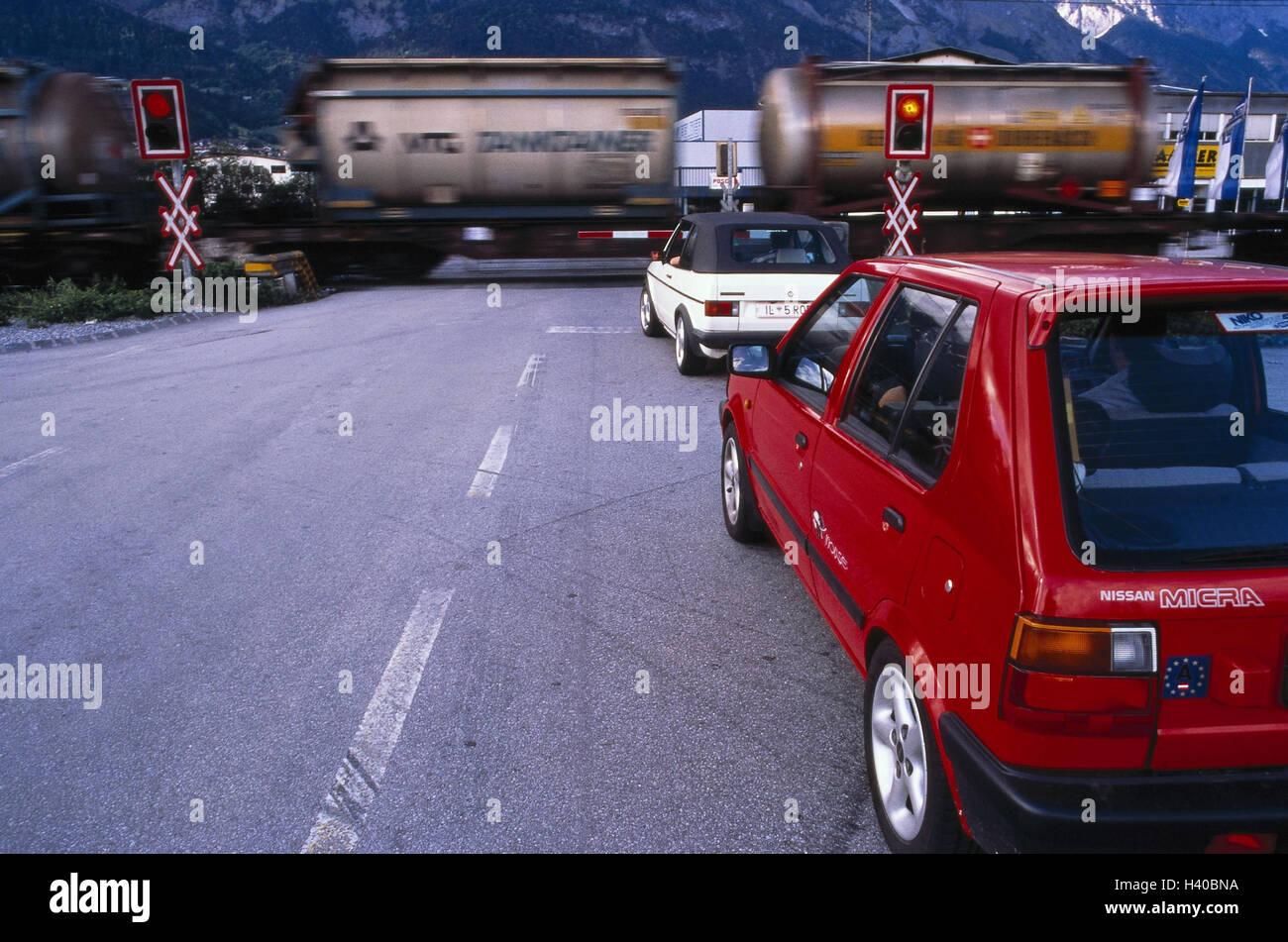 Traffic, level crossing, signals, goods train, go, passenger car ...