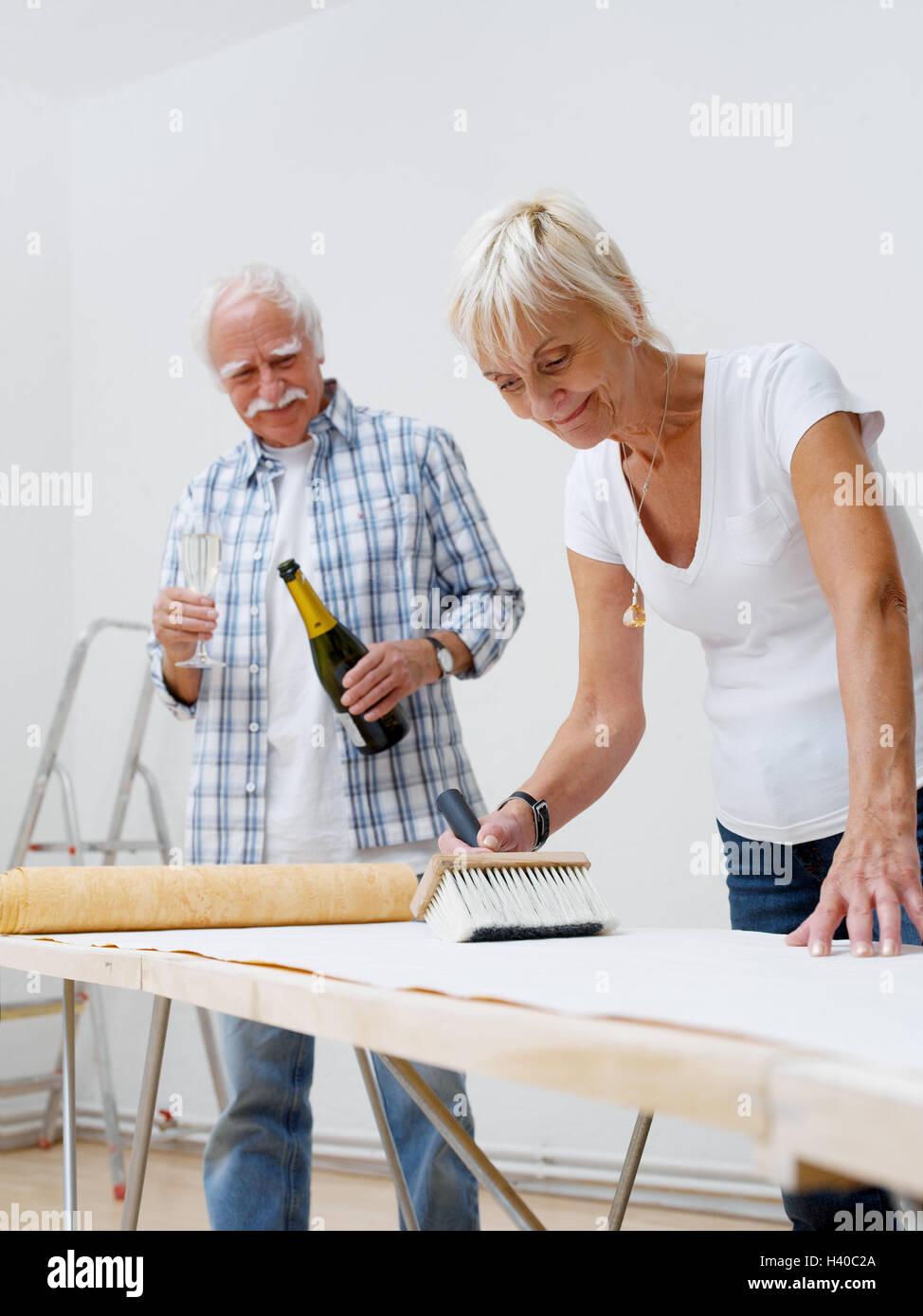 Flat Renovation Works Senior Couple Wallpaper 60 70 Years Stock