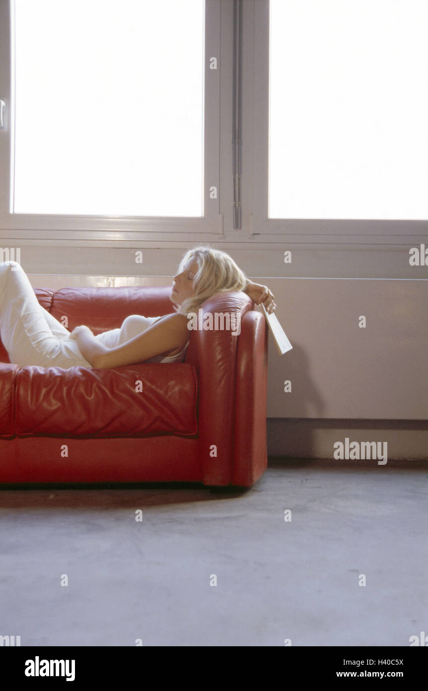 Sofa Woman Lie Sleep Hold Book Detail Young Blond Stock Photo