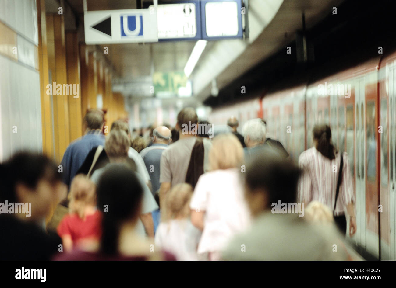Subway stop, underground, platform, passengers, back view, railway station, stop, station, railway, means transportation, - Stock Image
