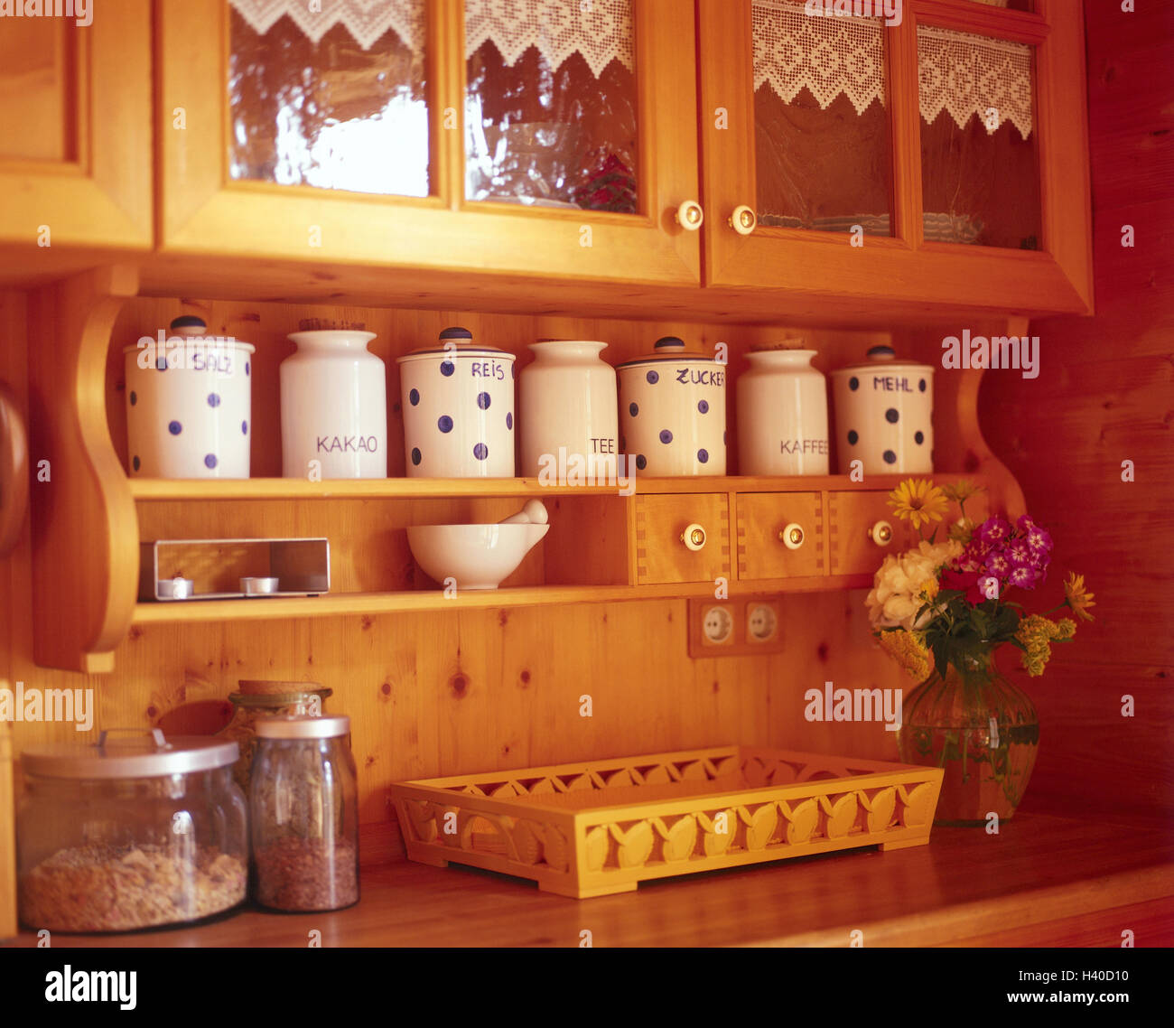 Kitchen unit, rural, detail, cuisine, St. of furniture, fitment, wall, wall covering, wooden, Wooden walls, setup, - Stock Image