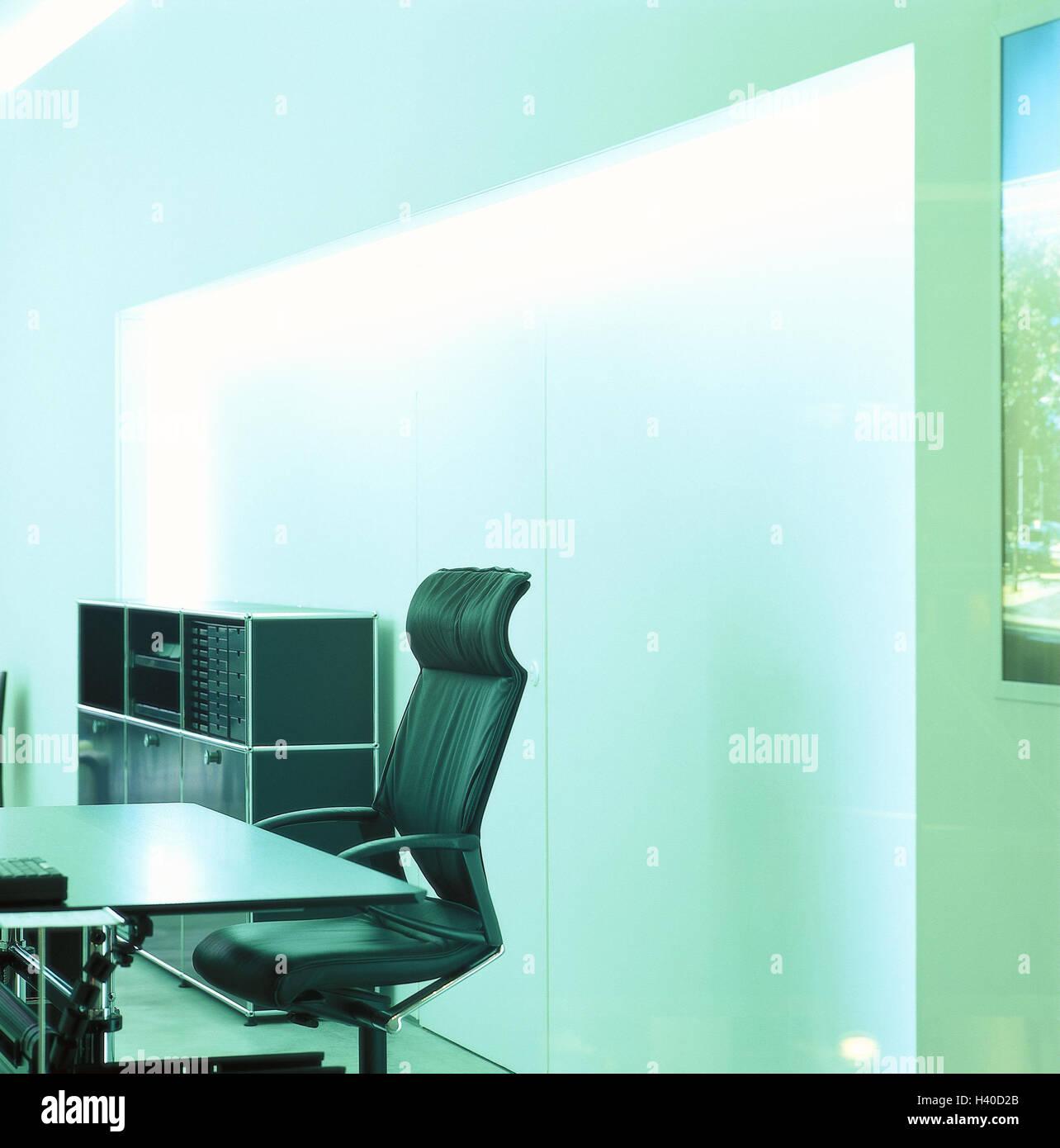 Office furnitures, modern, armchair, desk, swivelling, inside, office, office equipment, cupboard, office armchair, - Stock Image