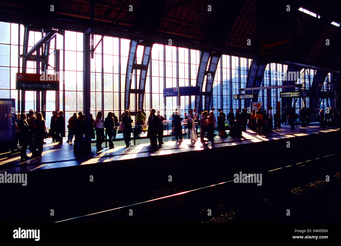 Station hall, window front, platform, passengers, back light, railway station, hall, occupational commuter, travellers, - Stock Image