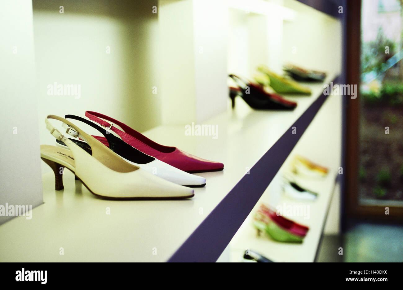 Shoe store, shelves, women's shoes, shoe boutique, shoe shop, shoes, summer shoes, women's shoes, pumps, - Stock Image
