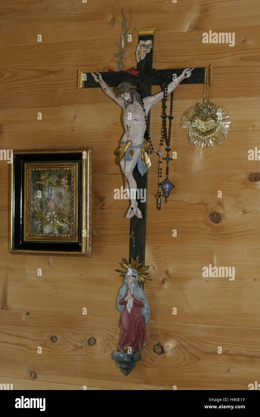 Residential room, wooden wall, crucifix, devotional objects room, farmhouse parlour, living space, wall, wall covering, - Stock Image