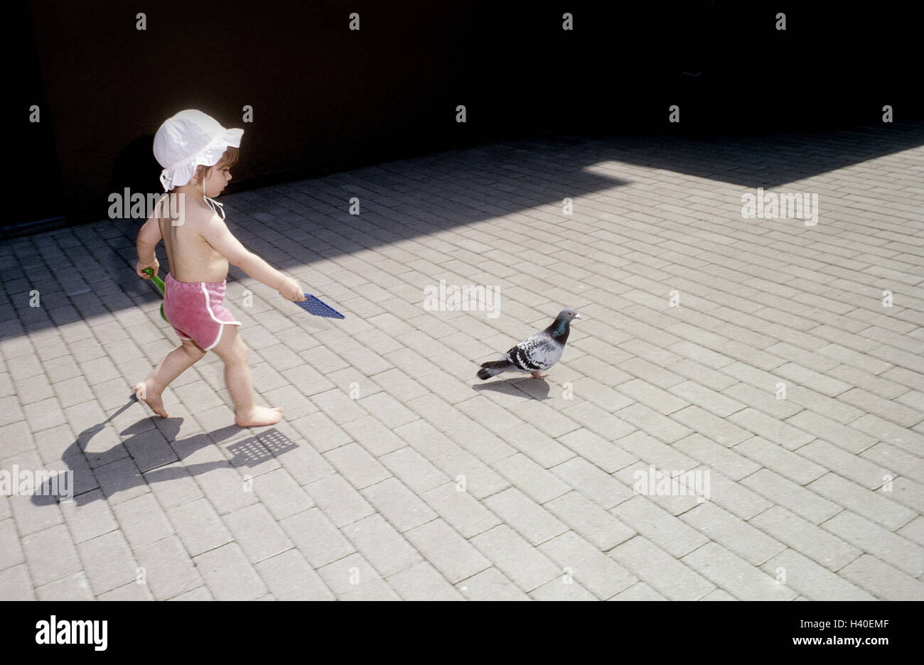Infant, free upper part of the body, barefoot, solar hat, toys, pigeon, hinterherlaufen 3-5 years, girls, child, Stock Photo