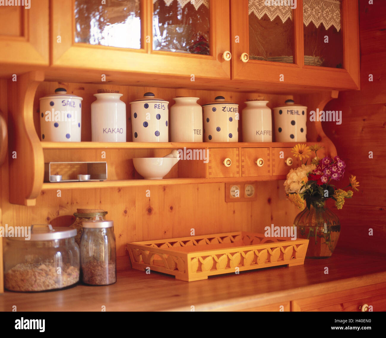 Kitchen unit, rural, detail, wall, wall covering, wooden, wooden walls, setup, rustic, rurally, wooden, country - Stock Image