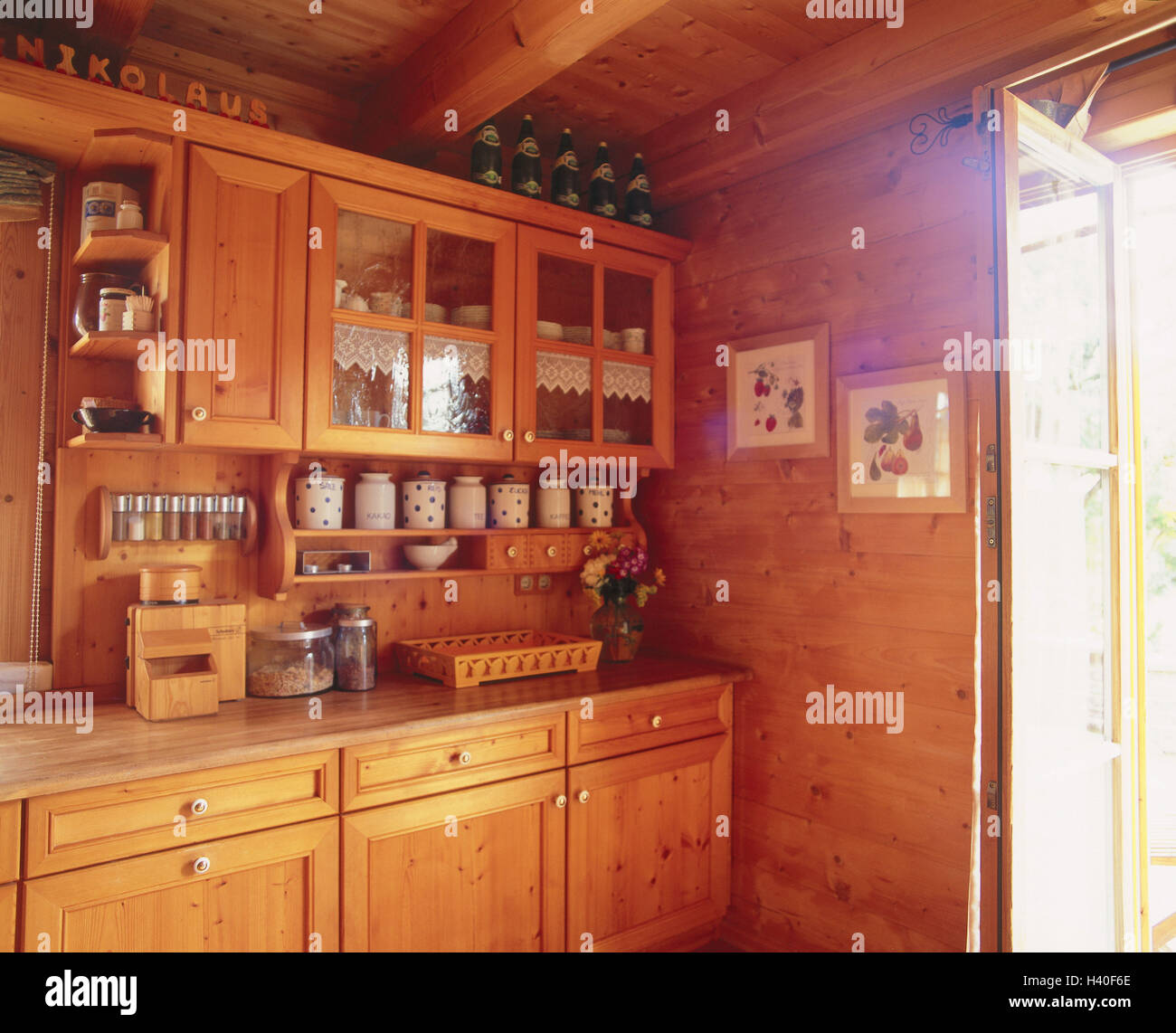 Kitchen Unit Rural Wall Covering Wooden Walls Cosiness Setup Rustic Rurally Country House Style Residential Home Decor