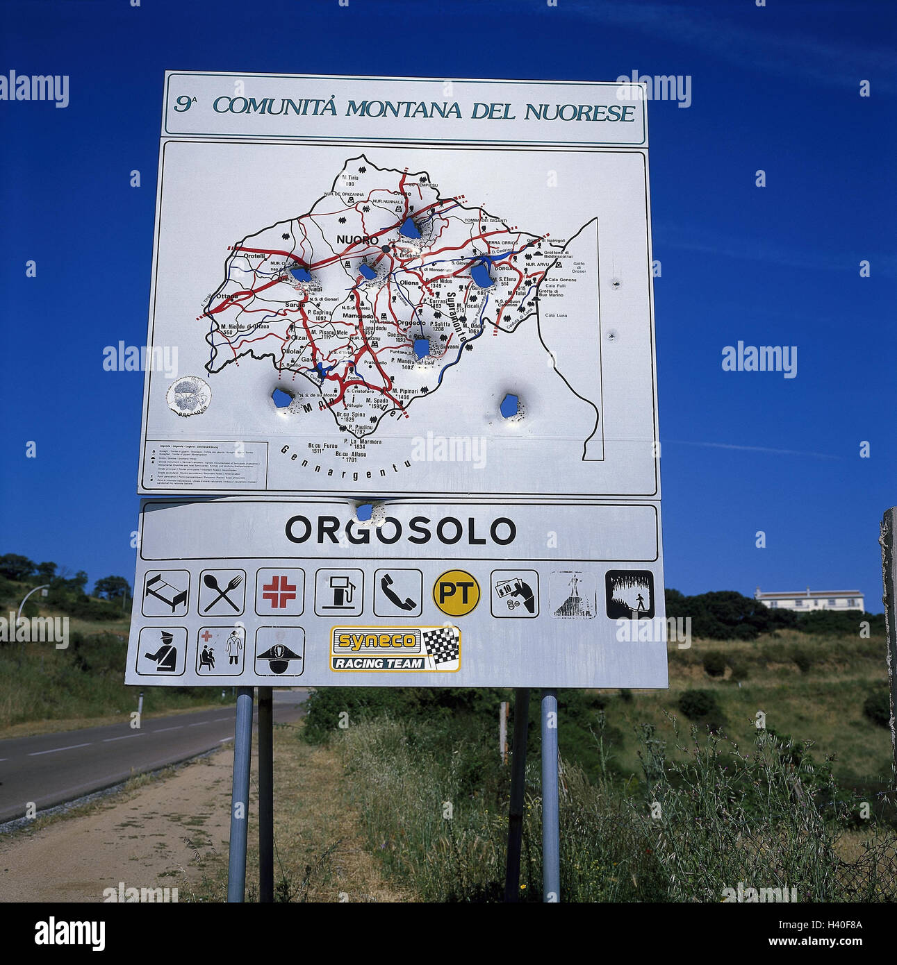 italy sardinia province nuoro orgosolo street local notice board road map island the mediterranean sea sardegna country road scenery
