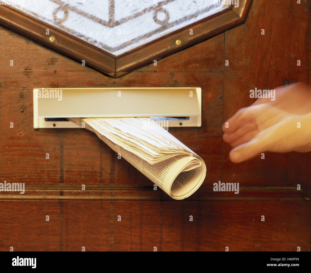 Front door letter slot newspaper person detail hand take blur door front door newspaper newspaper role messages information daily & Front door letter slot newspaper person detail hand take blur ...