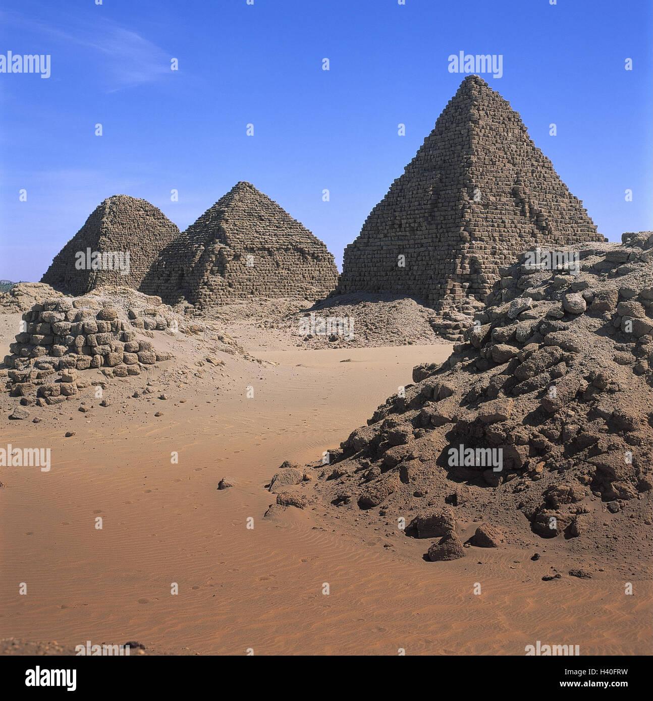 Sudan, Nuri, necropolis, Napatan kings, pyramids, Africa, temple, ruin, architecture, archeology, culture, place Stock Photo
