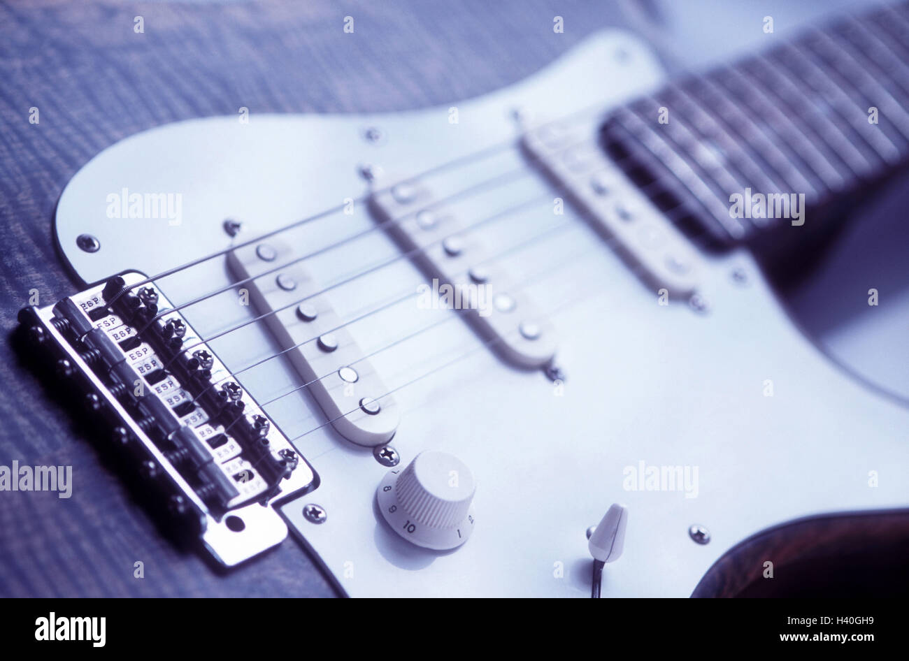 E guitar, detail, stringed instrument, plucked instrument, musical instrument, electric guitar, instrument, chordae, - Stock Image