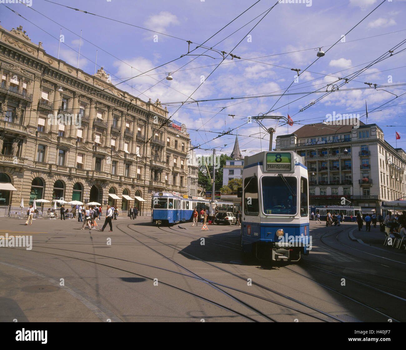 Switzerland, Zurich, save space, streetcars, passers-by, Europe, Svizzra, canton, town, city centre, part town, - Stock Image