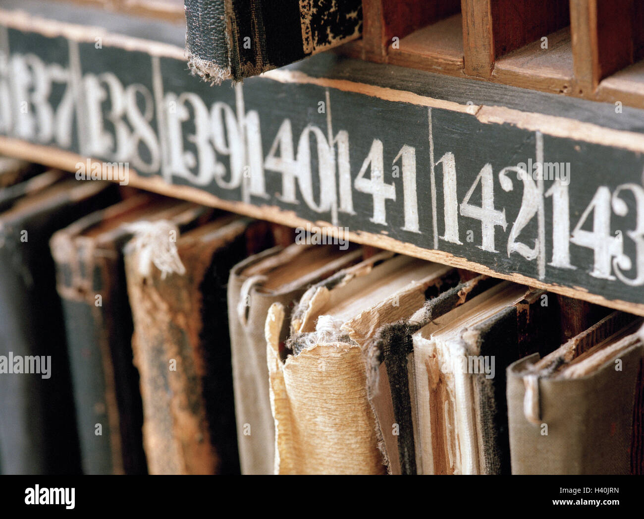 Weaving mill, shelf, sample books, numbers, detail, nostalgically, economy, industry, craft, handicraft, manual - Stock Image