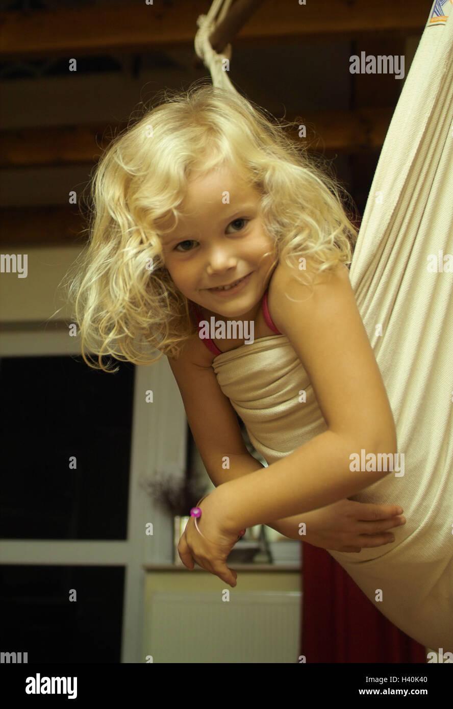 Terrace, hammock, girl, smile, child, 4 dangle - 6 years, childhood, leisure time, fun, hang, recreation, rest, - Stock Image