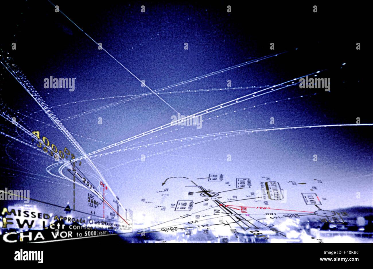Composing, flight routes, flight tickets, instrument Landing system, ILS, night, air traffic, air traffic, navigation - Stock Image