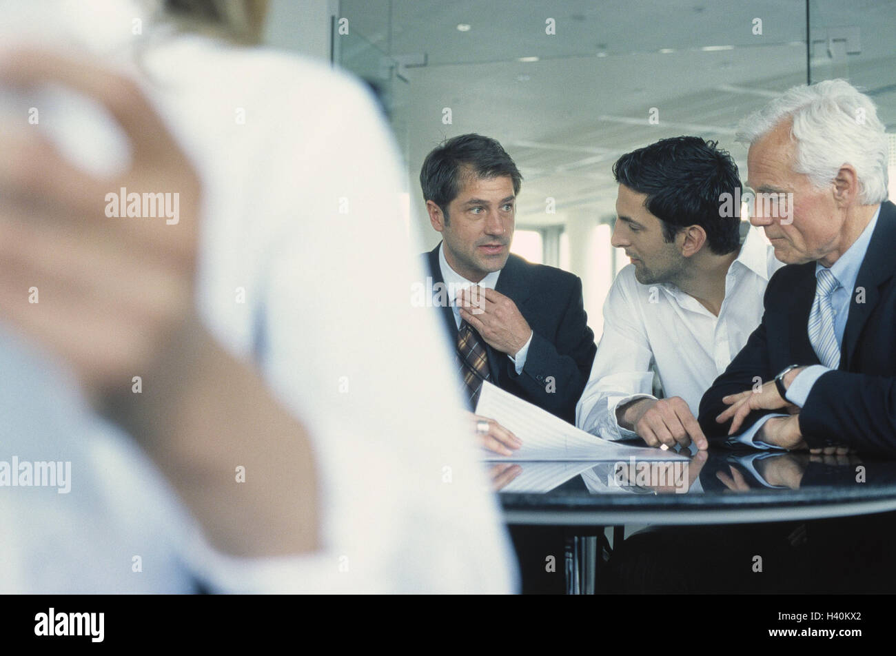 Business, business people, bases, discussion, conference, men, woman, colleague, team, work, occupation, meeting, - Stock Image