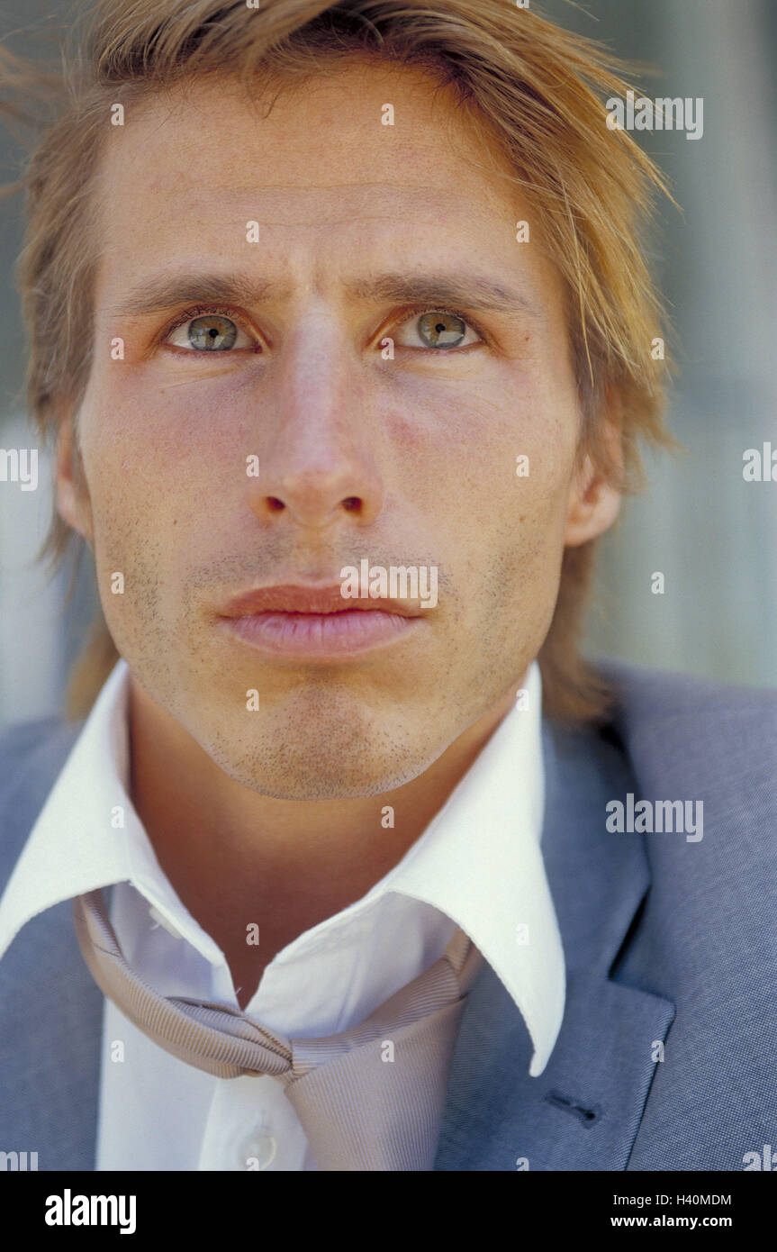 Businessman, seriously, to high-level views, portrait, man's portrait, 30 years, man, frustration, frustrates, - Stock Image