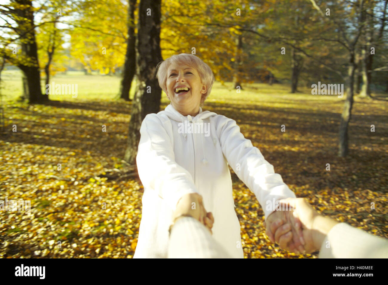Senior couple, hands hold, rotate, laugh, melted, happy, detail, 50-60 years, 60-70 years, couple, senior citizens, - Stock Image