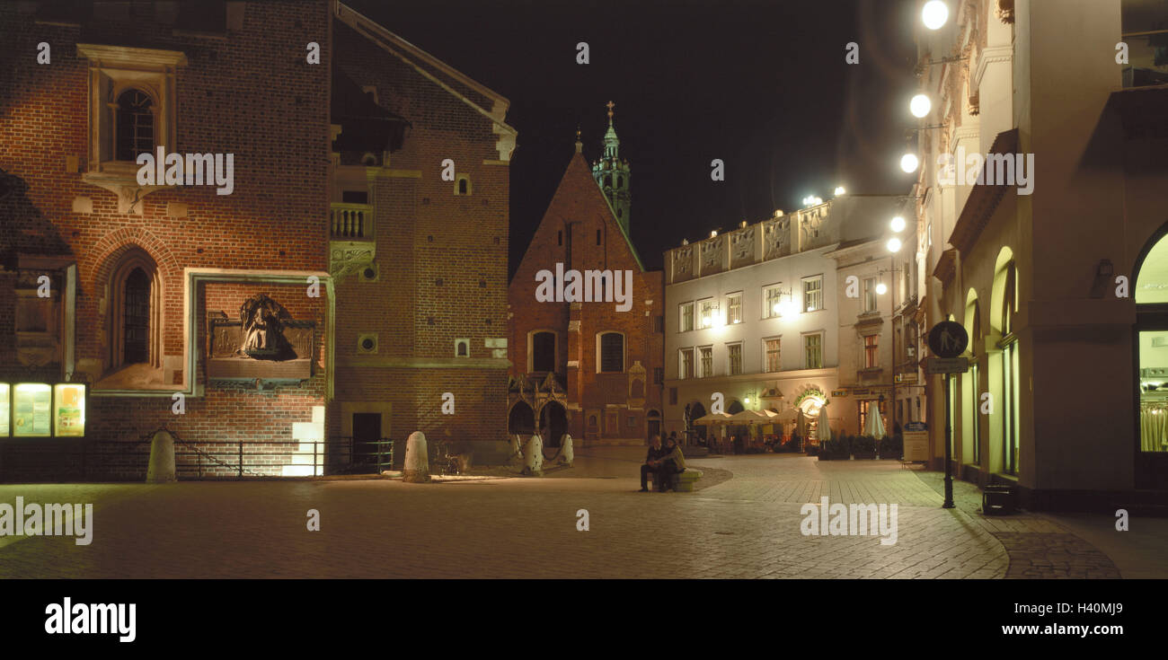 Poland, Cracow, Old Town, Marien's church, detail, street cafe, evening, Europe, East, Europe, Cracow, town - Stock Image