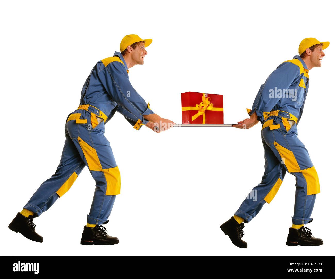 Messengers, present, block, there run, tread, professions, man, occupation, parcel delivers, package delivery, package, - Stock Image
