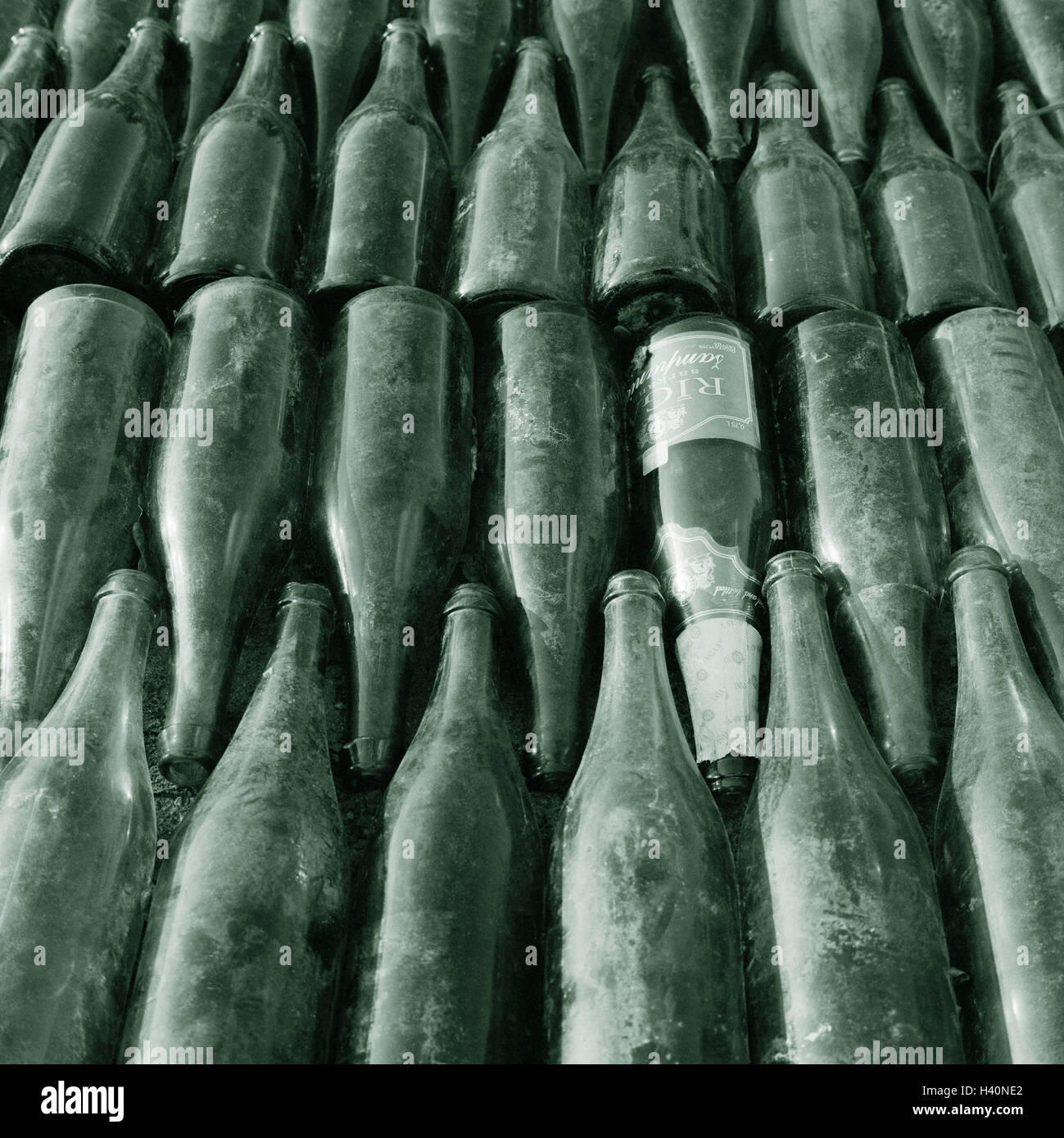 Old glass, Sparkling Wine Bottles, ordered, detail, environment protection, recycling, recycling, re-use, Bottles, - Stock Image