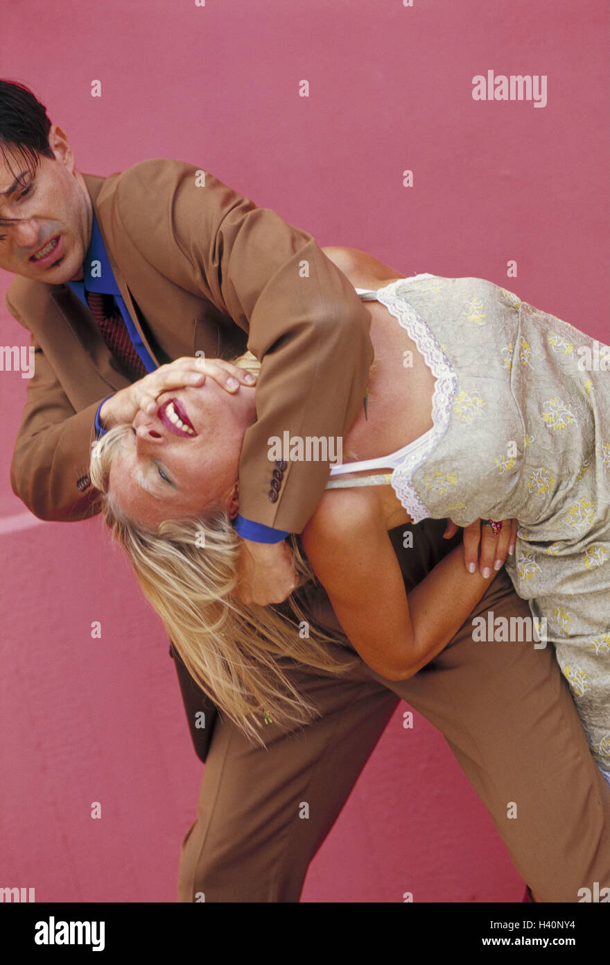 Couple, young, fight, use force adults, intentionally, power, brutality, brutally, cruelly, cruelty, violence, personal - Stock Image